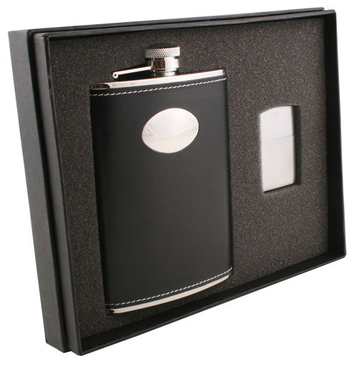Visol Eclipse Z 8oz Flask and Zippo Lighter Gift Set - Wine Cooler City