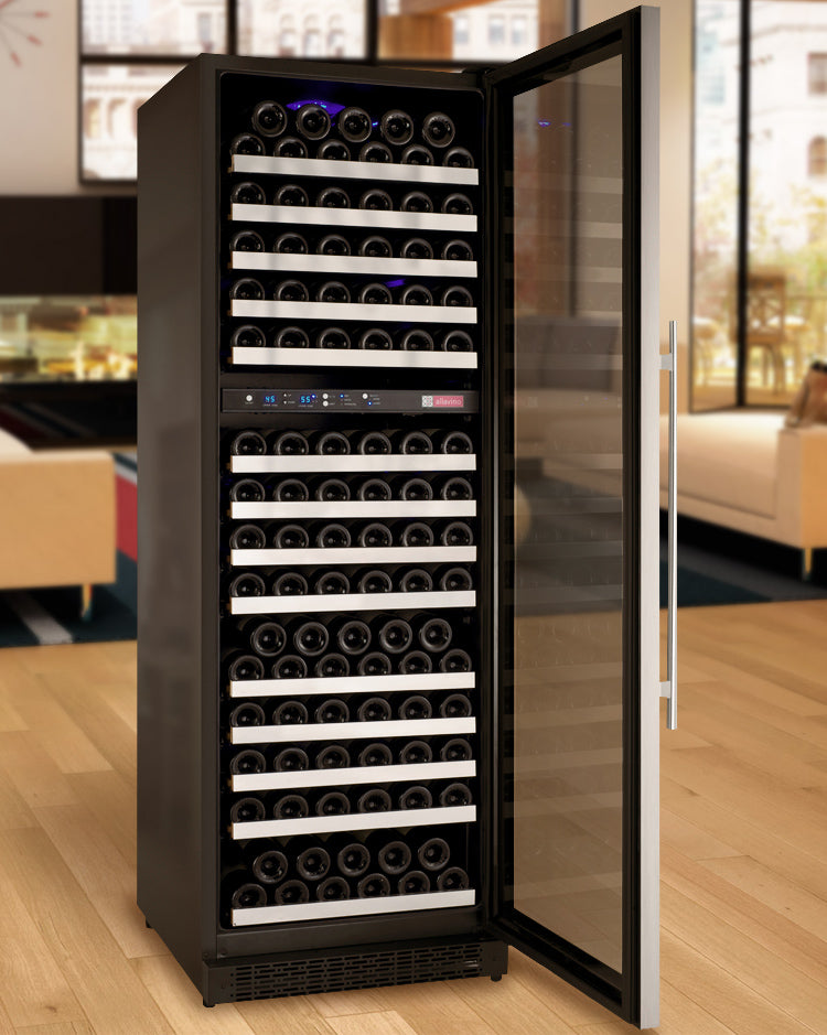 "Allavino 24"" Wide FlexCount II Tru-Vino 172 Bottle Dual Zone Stainless Steel Right Hinge Wine Refrigerator - VSWR172-2SR20"