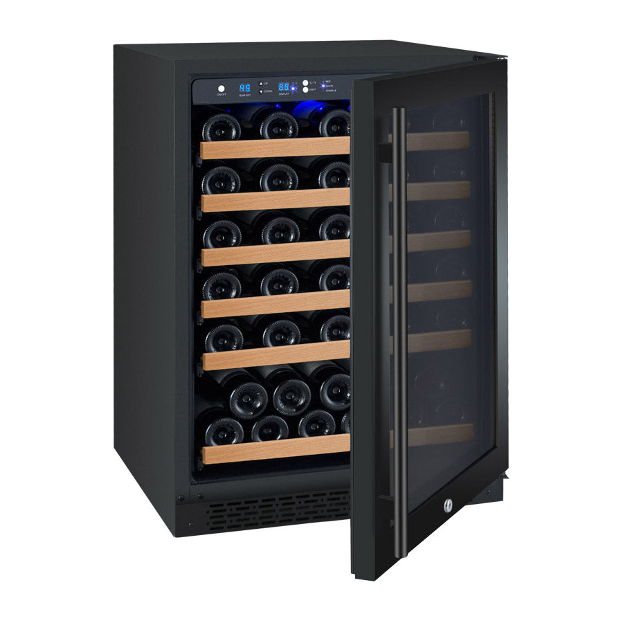 "Allavino 24"" Wide FlexCount II Tru-Vino 56 Bottle Single Zone Black Right Hinge Wine Refrigerator - VSWR56-1BR20"