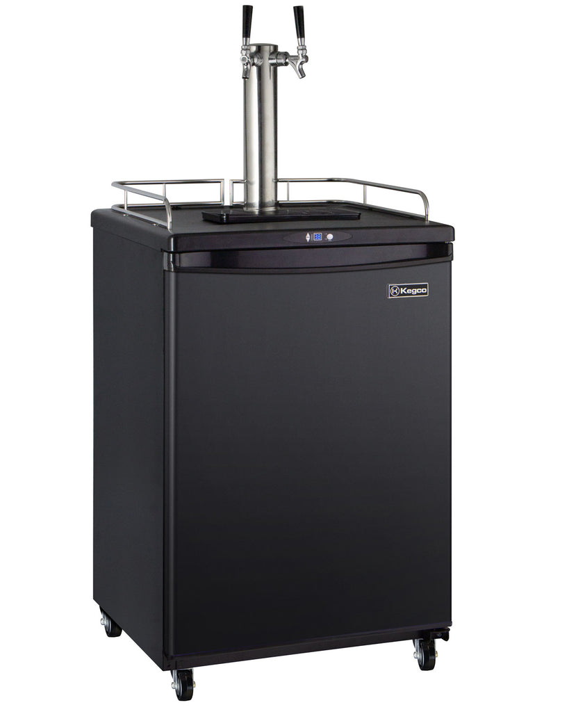 "Kegco 24"" Wide Cold Brew Coffee Dual Tap Black Commercial/Residential Kegerator - ICZ163B-2NK"