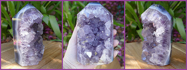 amethyst crystal geode point