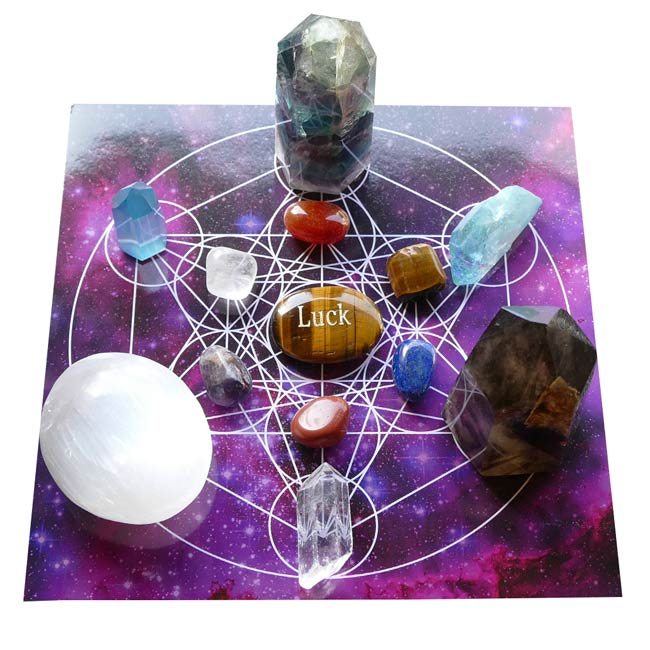 crystals for luck grid with tiger eye