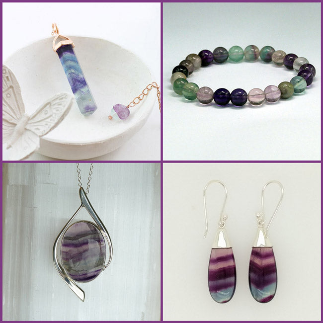fluorite jewellery pieces sterling silver