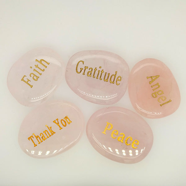 rose quartz inspirational word stones group