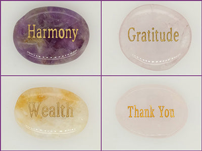 engraved word stones meditation