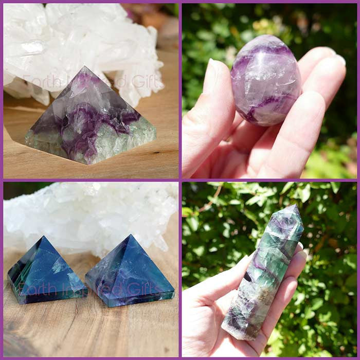 rainbow Fluorite with green and purples