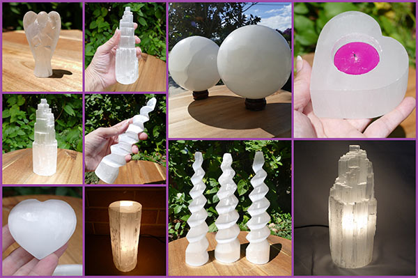 selenite tower lamps and crystals