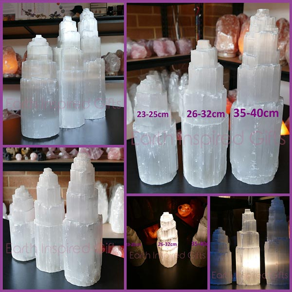 Selenite tower lamp small