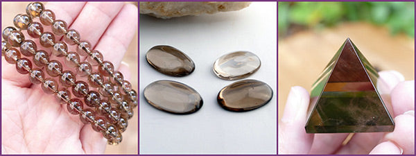smoky quartz jewellery and palm stones