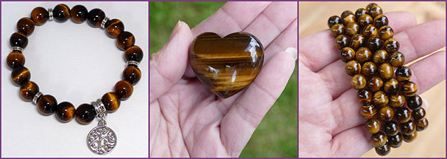 tigers eye jewellery and hearts