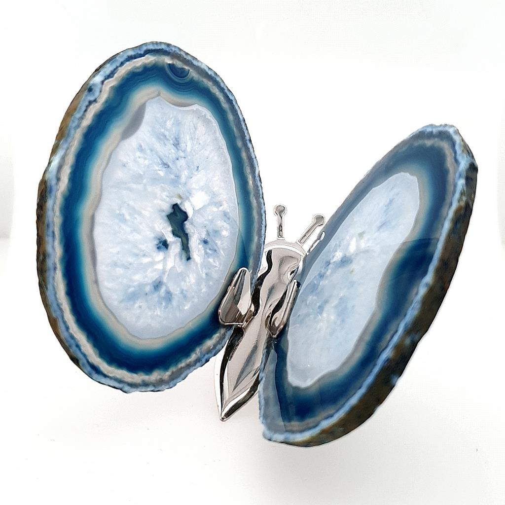 Blue Agate Butterfly with Natural Agate Slices - No.1