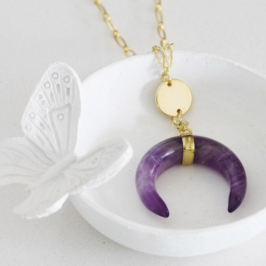 Horn Crescent Moon Necklace amethyst healing stone