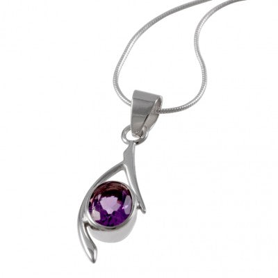 Amethyst Crystal Pendant in a lovely Silver setting