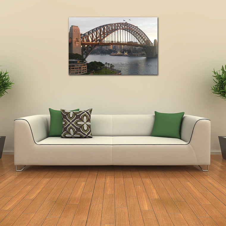 Sydney Harbour Bridge with Luna Park and Morning Light Canvas Print