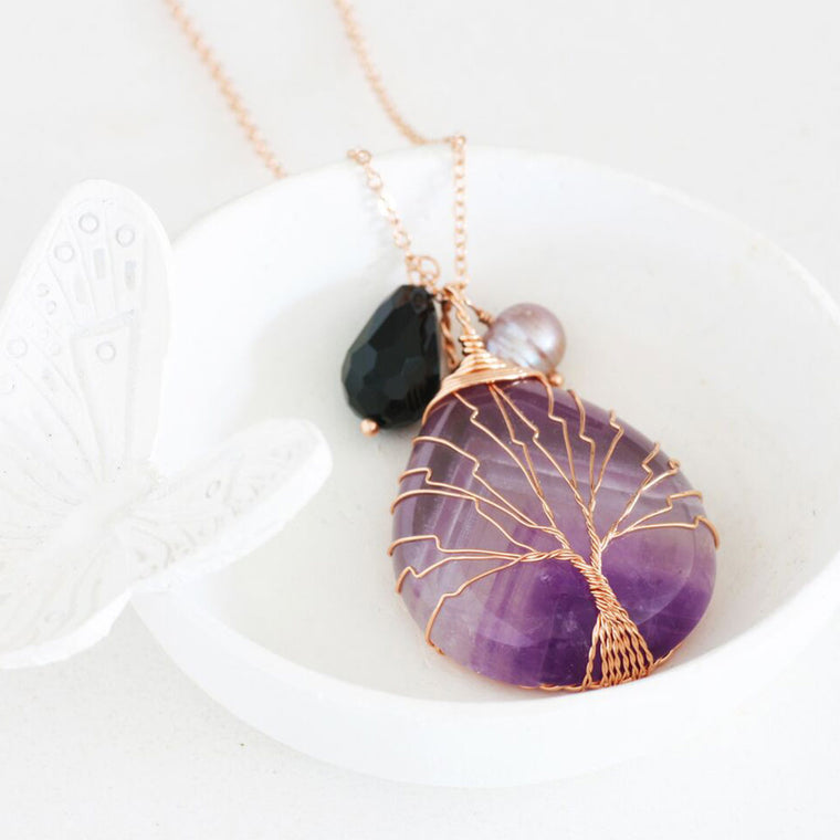Tree of Life Rose Gold Necklace with amethyst gemstone