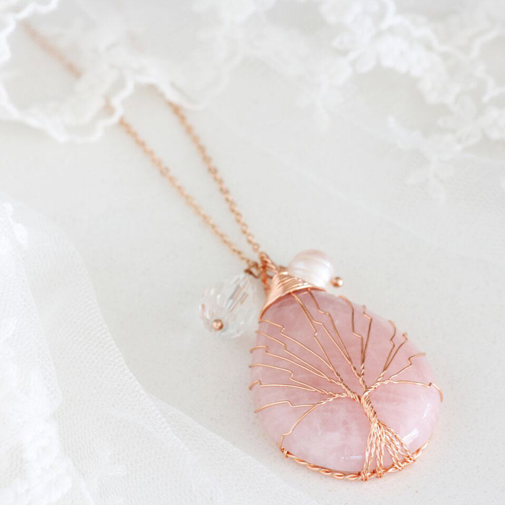Tree of Life Rose Gold Necklace with Natural Healing Stone