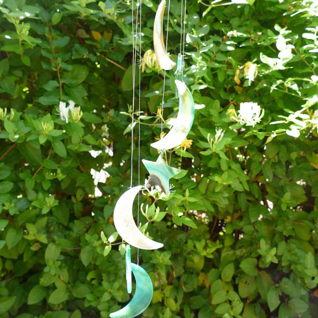 Agate Wind Chime - Green Stars and Moons