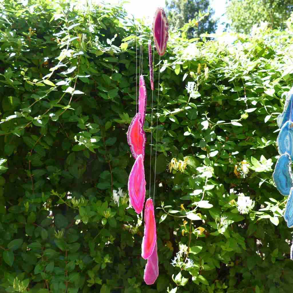 Agate Wind Chime with Cute Pink Slices