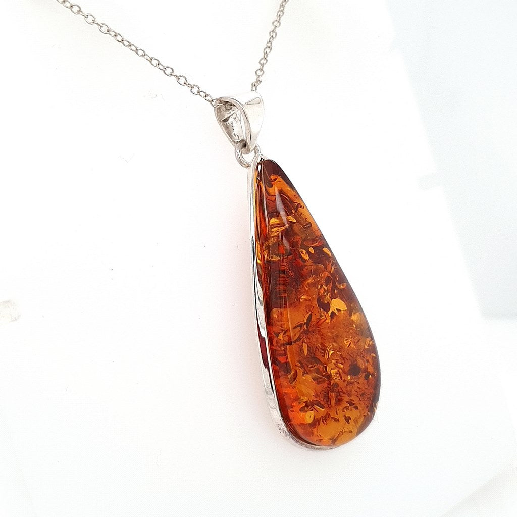 Baltic Amber Pendant in 925 Sterling Silver with Stunning Contrast