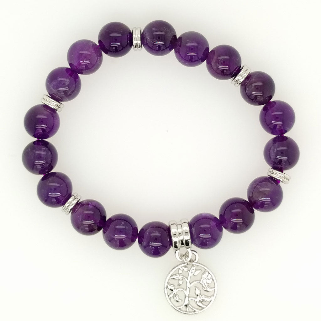best Amethyst Bracelet Tree of Life Charm