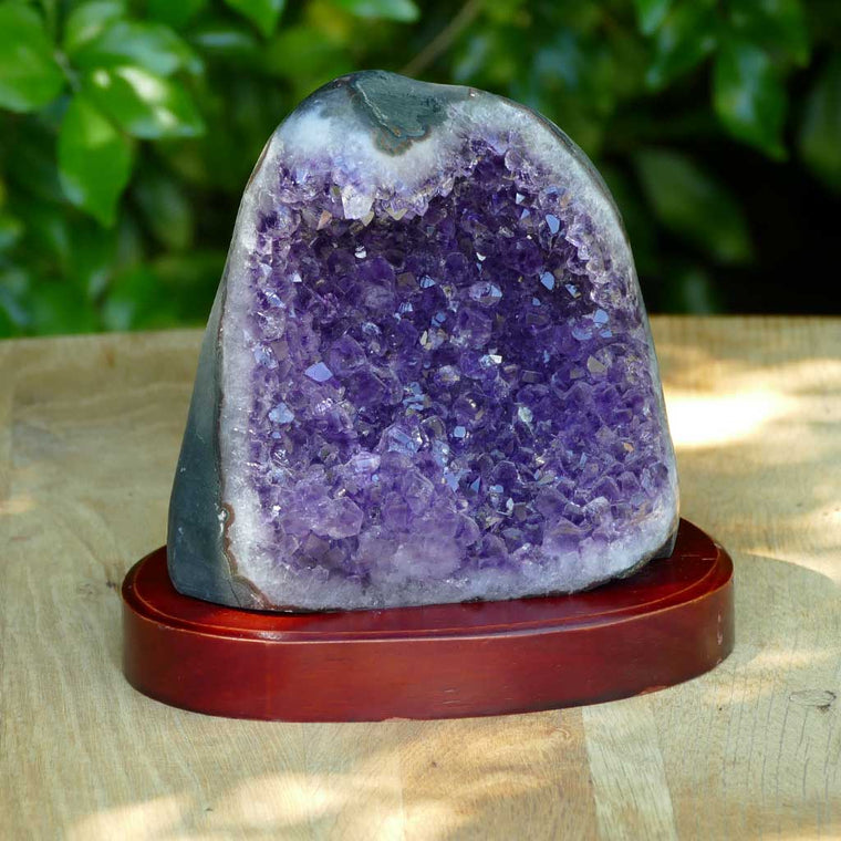 Uruguay Amethyst Cluster on Wooden Base - 1.34kgs