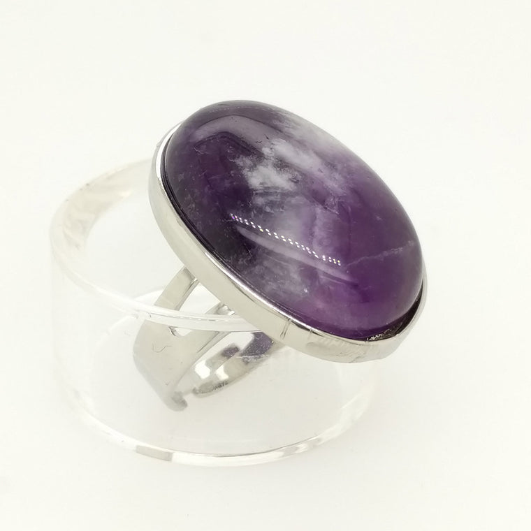 Crystal Oval Ring - Amethyst Crystal Ring and Rose Quartz Ring