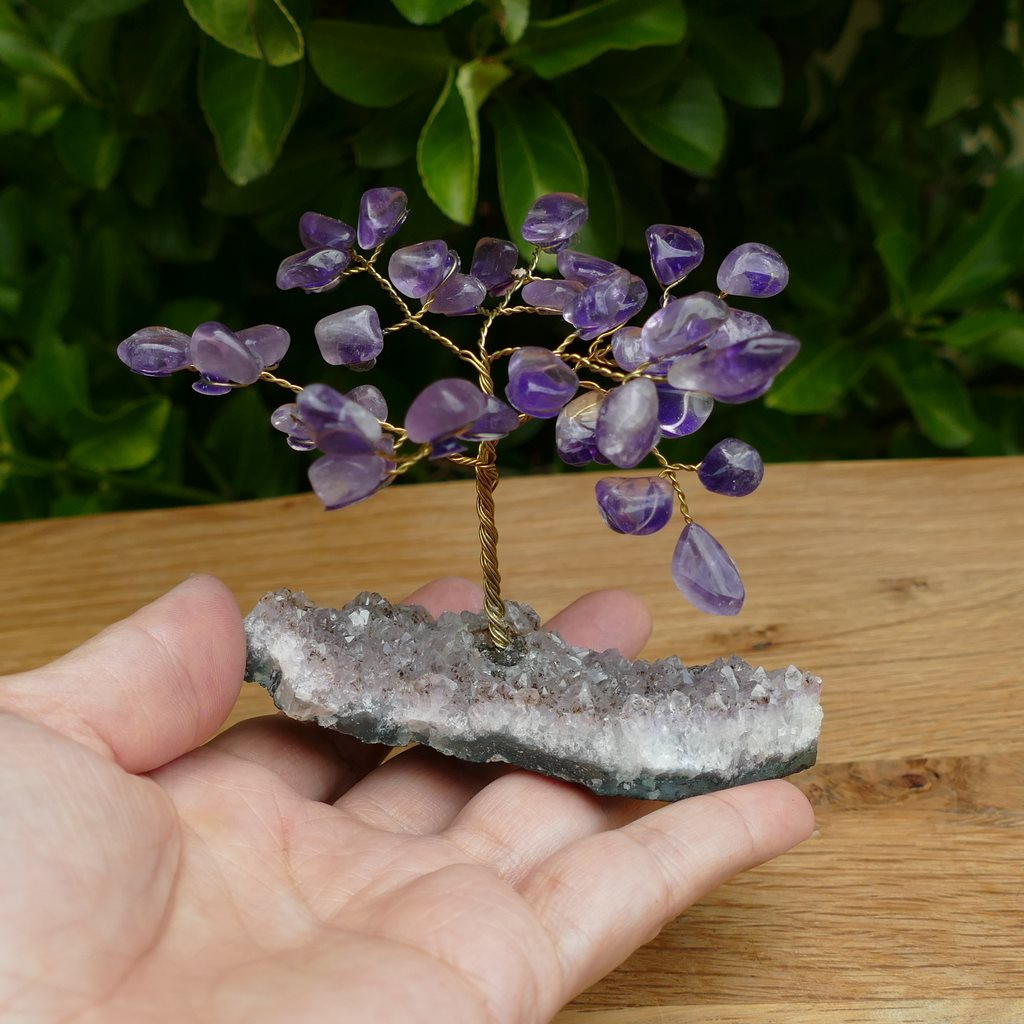 Crystal Gem Tree on an Amethyst Base with Amethyst Leaves **Seconds**