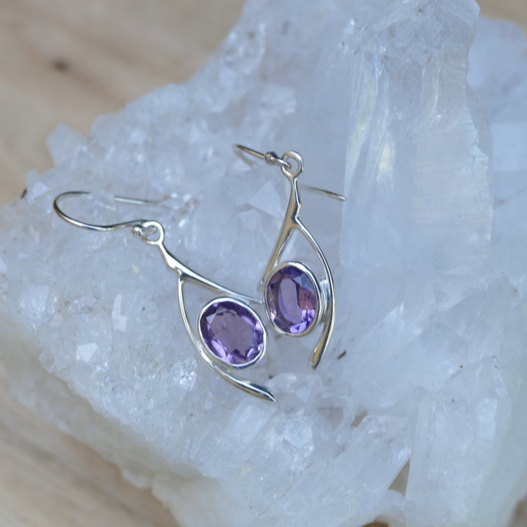 Amethyst Earrings - Faceted Oval Shape