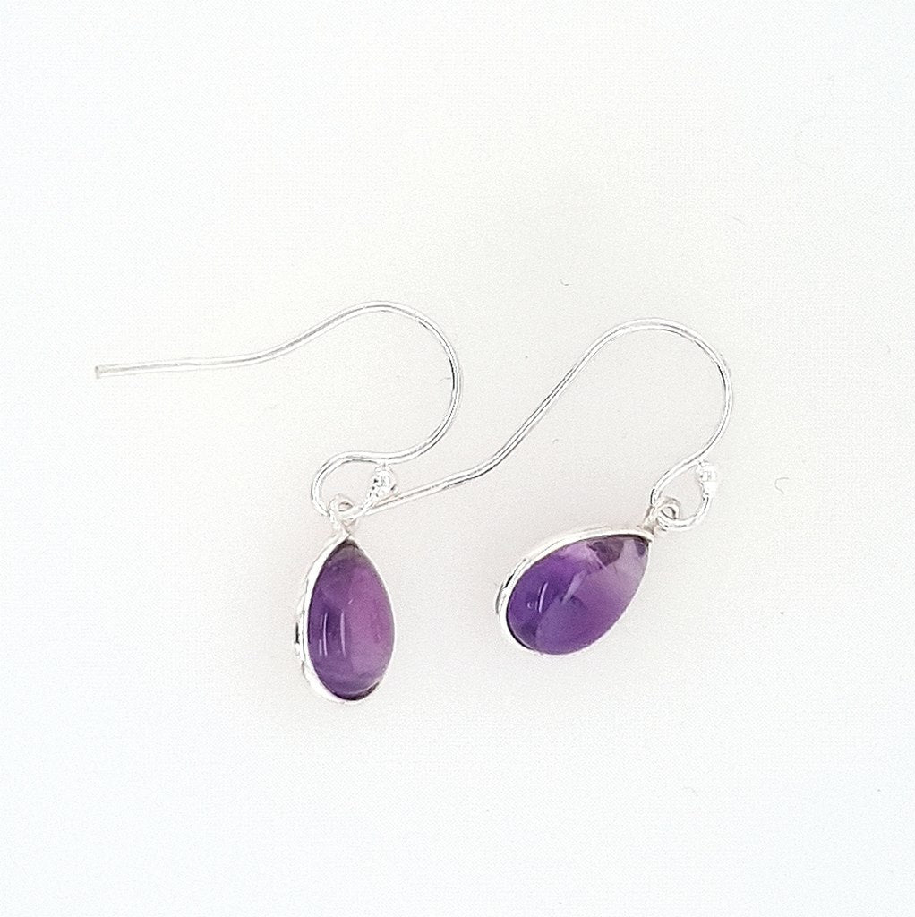 Amethyst Teardrop Crystal Earrings in Sterling Silver