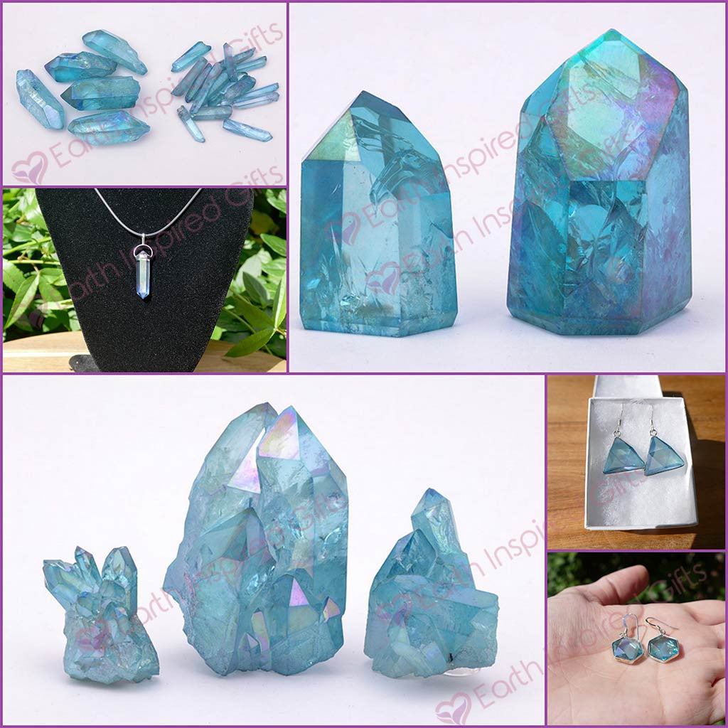 Aqua Aura Points Medium Size Natural Cut