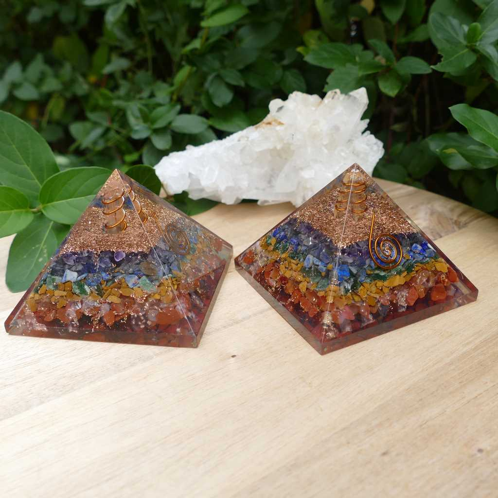 Orgone Pyramids with 7 Chakra Crystals