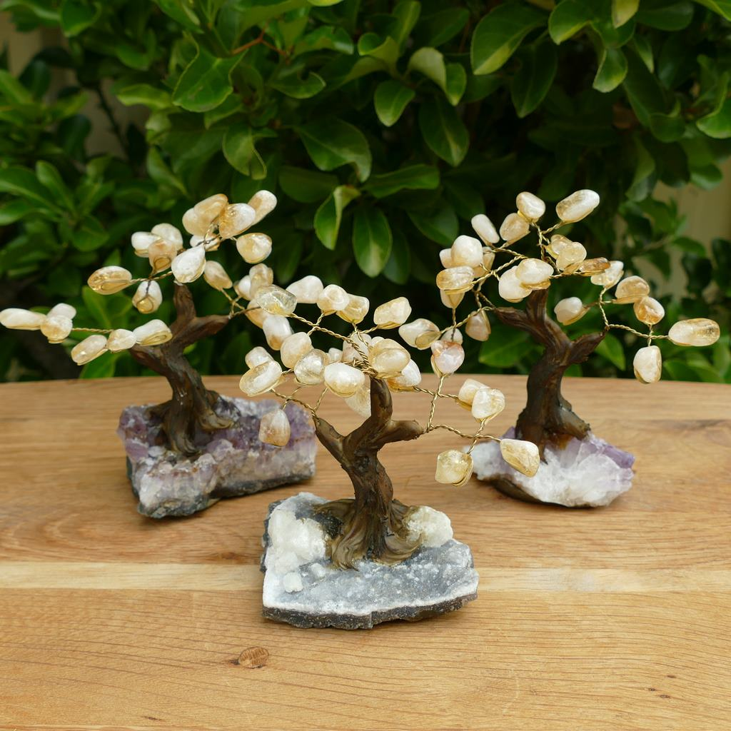 Bonsai Gem Tree with Citrine Crystal Leaves