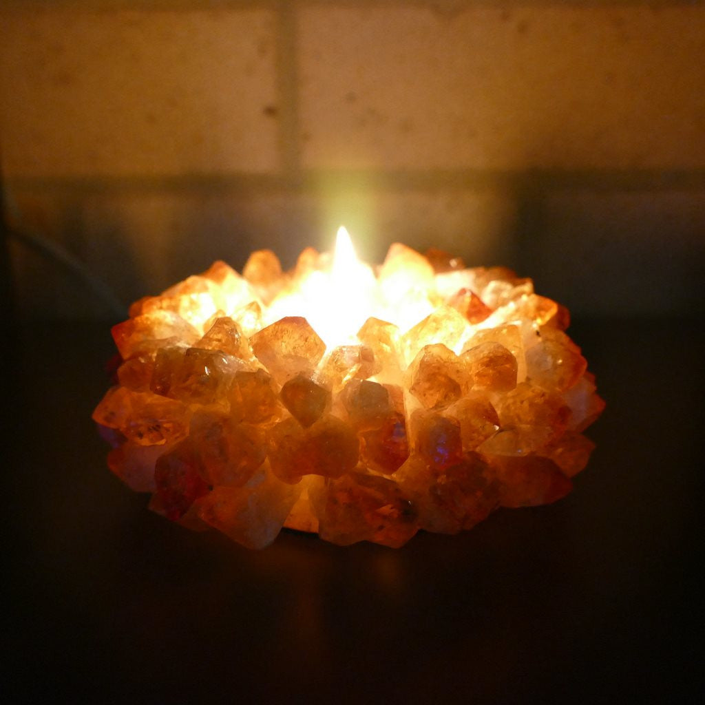Crystal Tealight Holders with Citrine Crystal Points