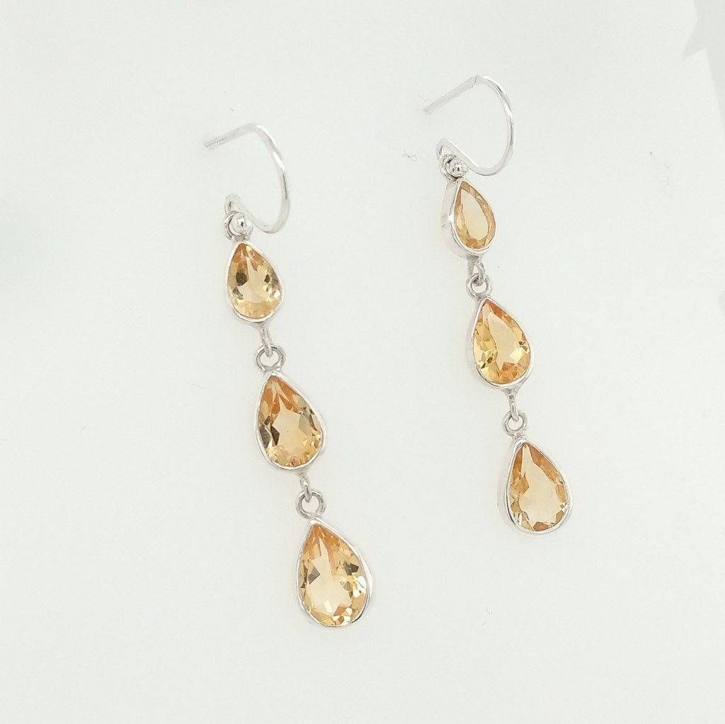 citrine three tier faceted earrings