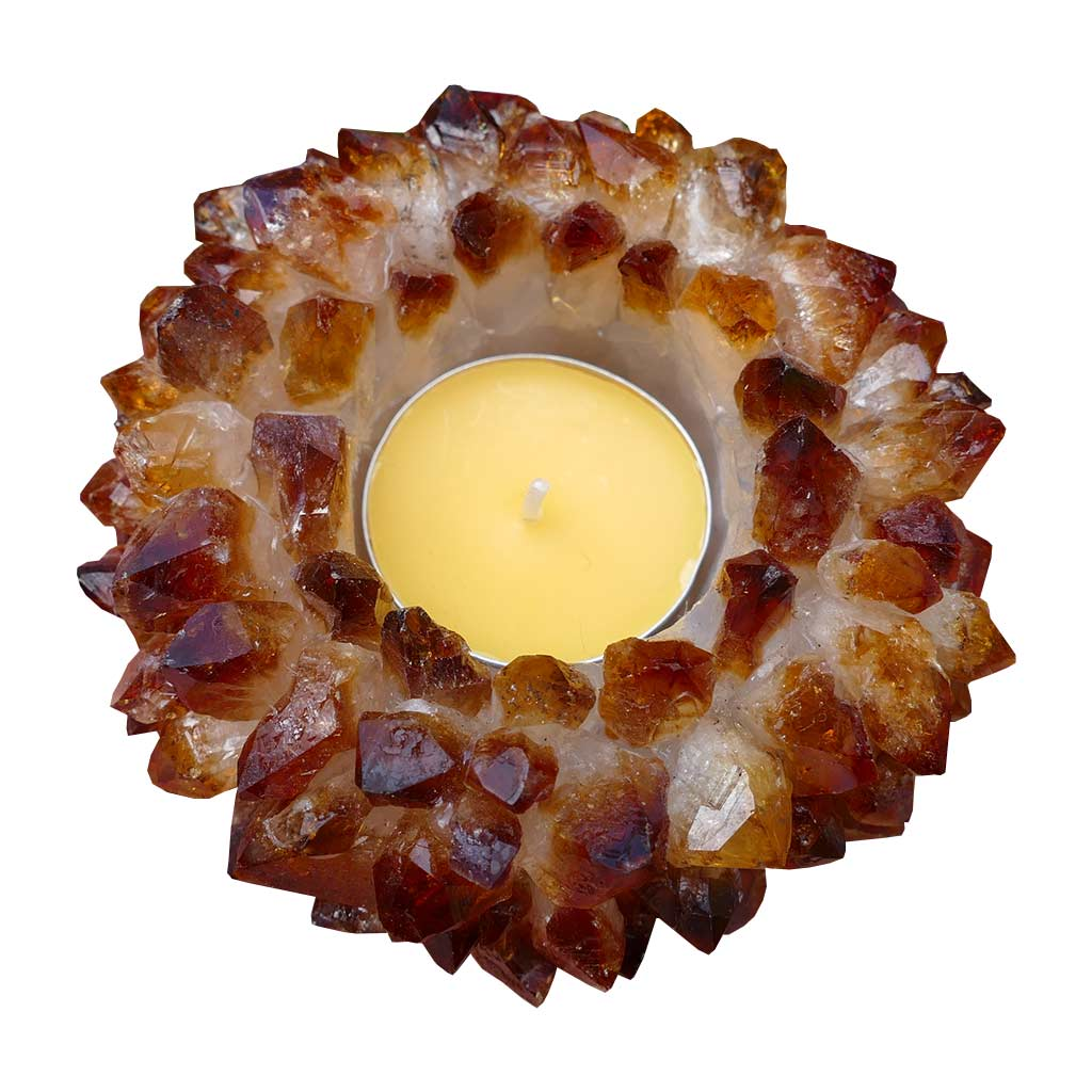 citrine cluster tealight candle holder