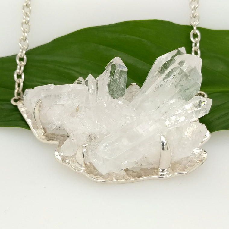 Clear Quartz Cluster Necklace in sterling silver
