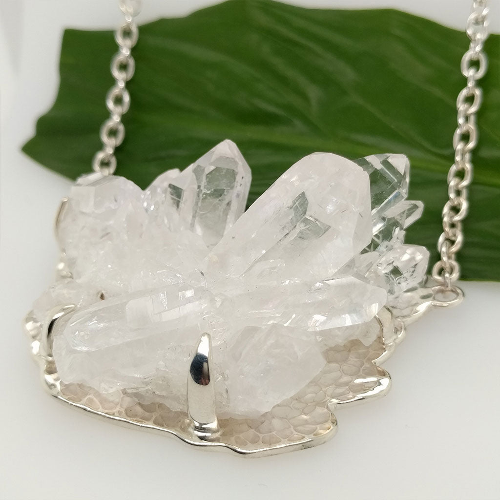 Clear Quartz Cluster Necklace in 925 Sterling Silver with Incredible Shine for Healing