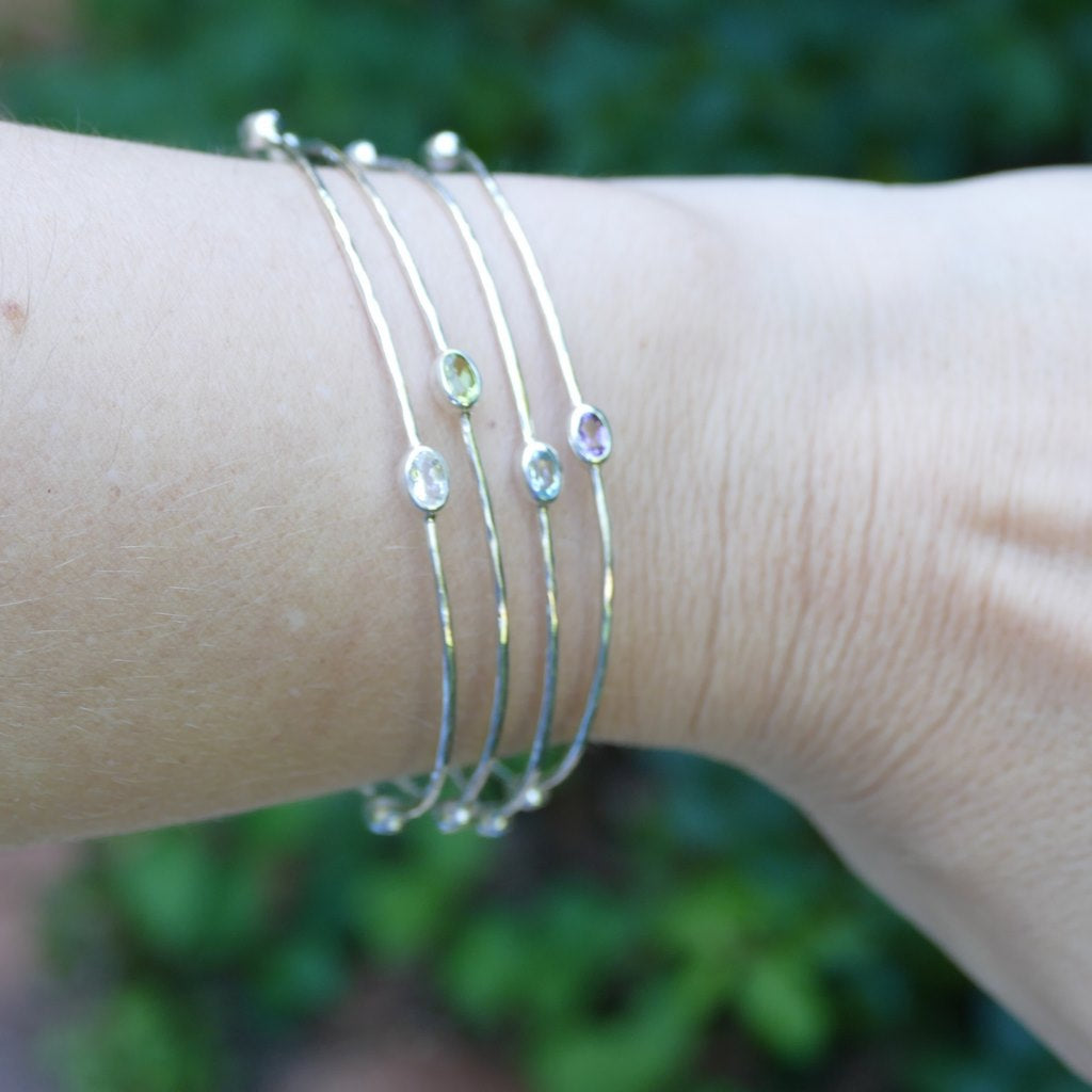 Crystal Bangles in Sterling Silver