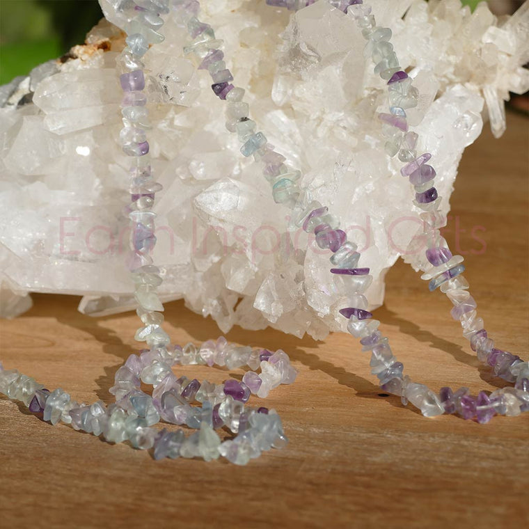 Fluorite Chip Necklace 36inch with Beautiful Colours