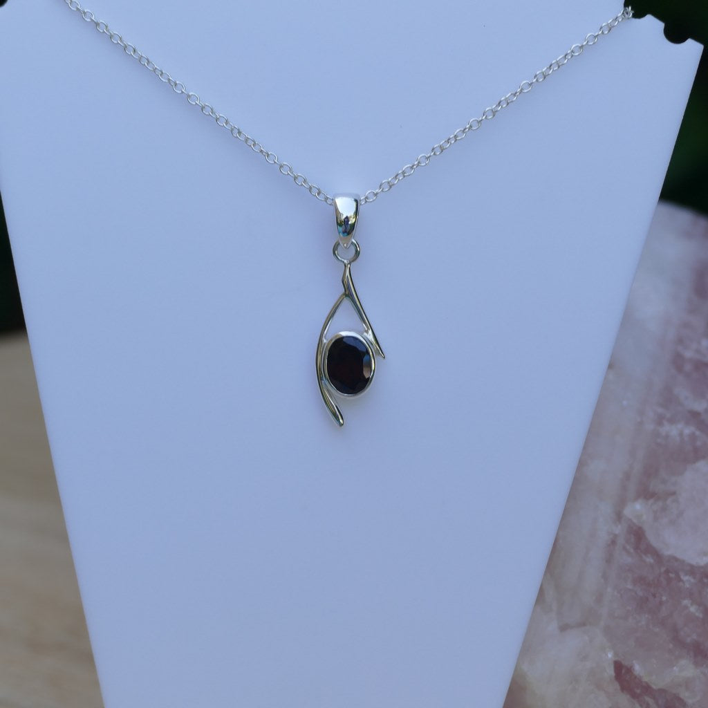 Garnet Crystal Pendant in a lovely Silver Setting
