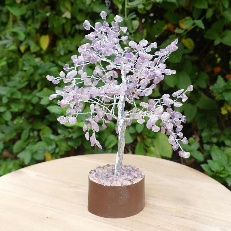 Crystal Gem Tree on Wooden Base - Amethyst
