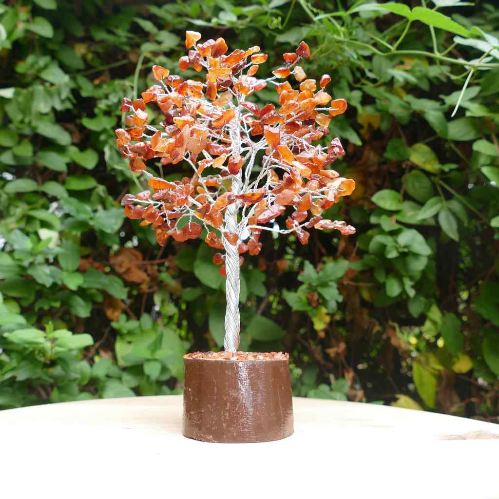Crystal Gem Tree on Wooden Base - Carnelian
