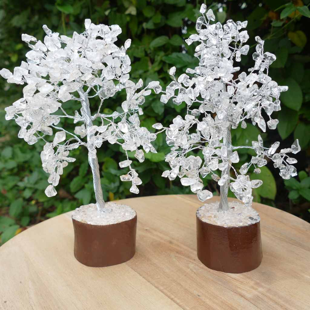 Crystal Gem Tree on Wooden Base - Clear Quartz