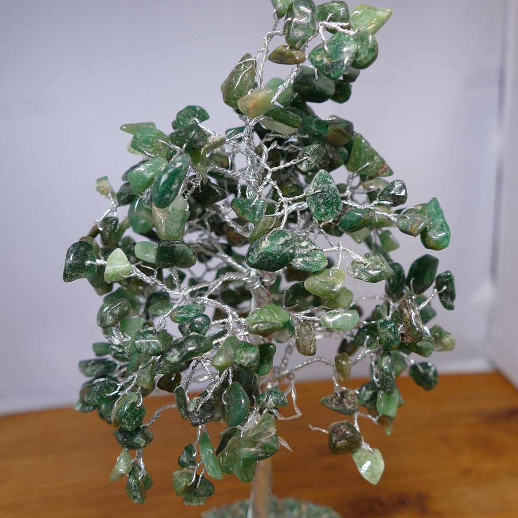Crystal Gem Tree on Wooden Base - Green Aventurine