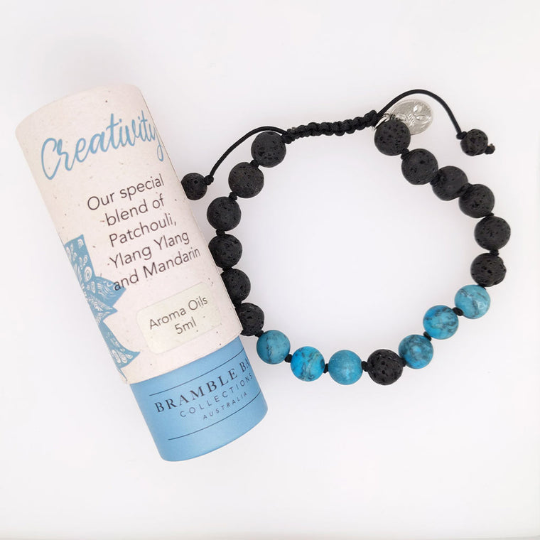 healing bracelet with crystals lava aroma oil