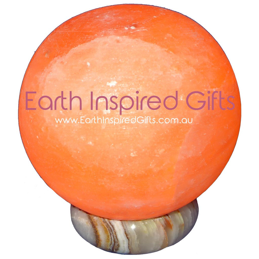 Carved Sphere Himalayan Salt Lamps with Onyx Bases