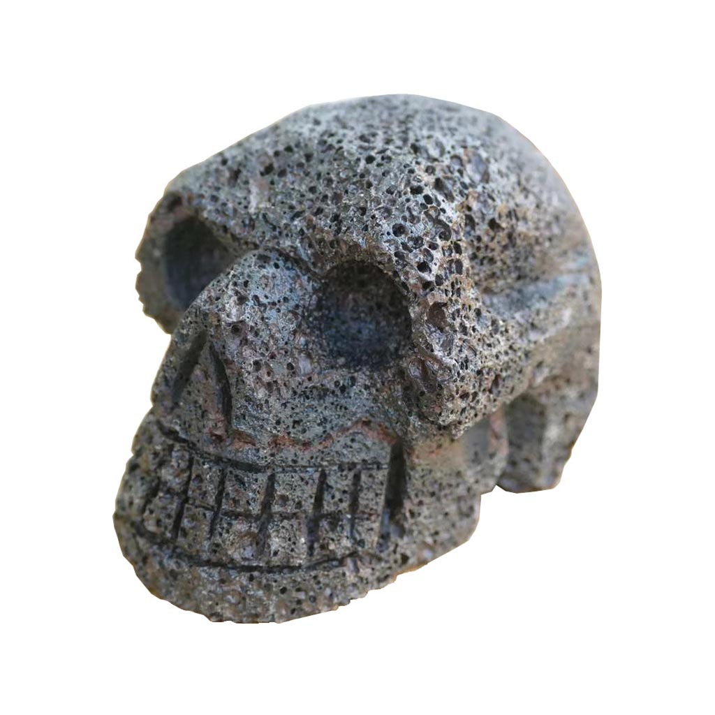 Carved Skull in Lava Stone