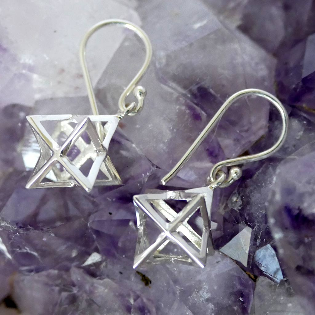 merkaba earrings sterling silver