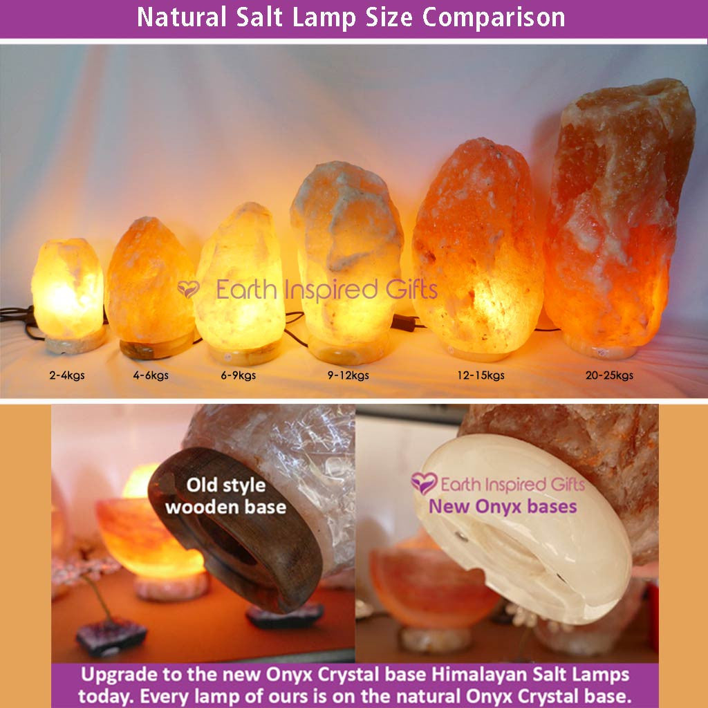 Medium Himalayan Salt Lamp 12-15kg with Onyx Crystal Base
