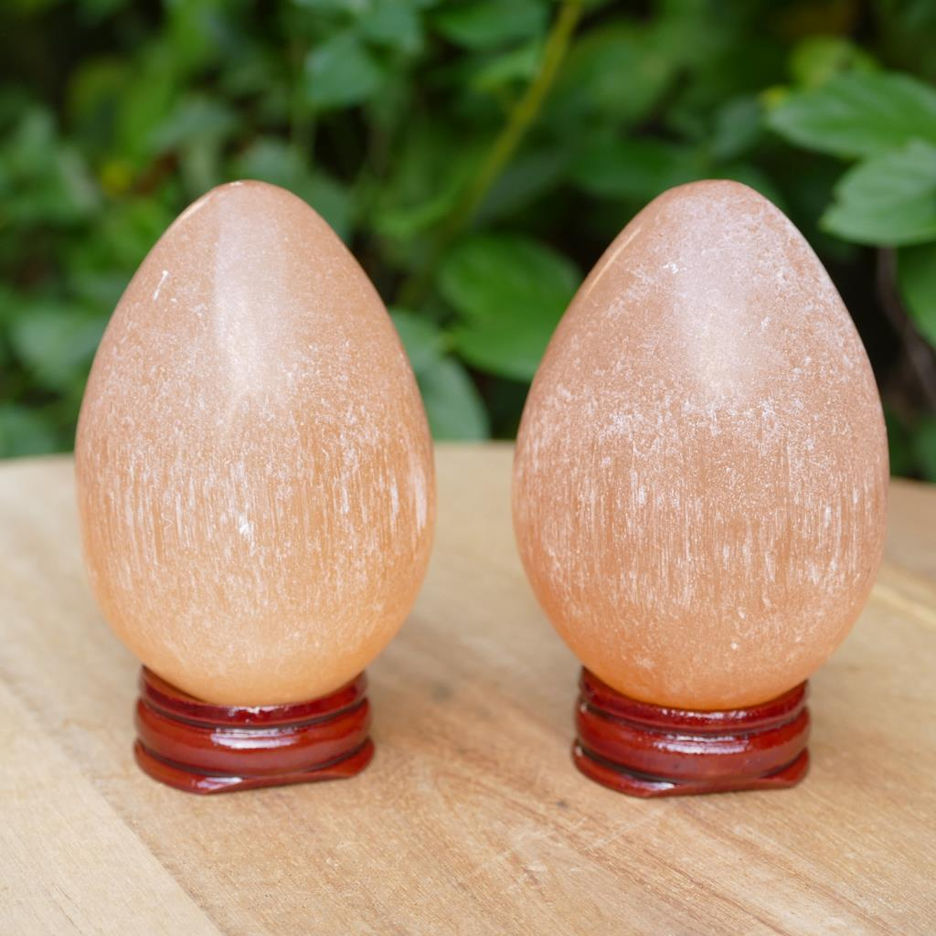 Selenite Egg in Orange & Naturally Polished Healing Stone - Peach Selenite
